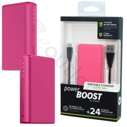 free shipping 564a2 5bd70 Mophie Power Boost 24 Hour Powerbank Portable Charger 5200 mAh - Pink
